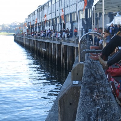 People chilling along wharves before sessions