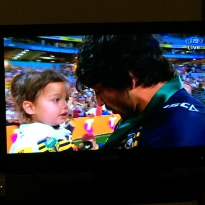 Most tender of all. Jonathan Thurston shares his victory with his daughter.