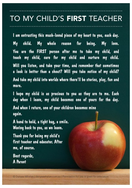 Letter To My Child's First Teacher. 366/12.