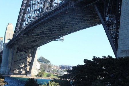 Looking under the Harbour Bridge across to the Wharf area on the western side.