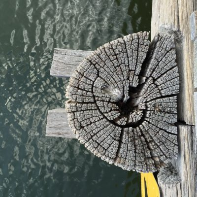 Looking down from the wooden bridge at the pier holding that section. Love the patterns!